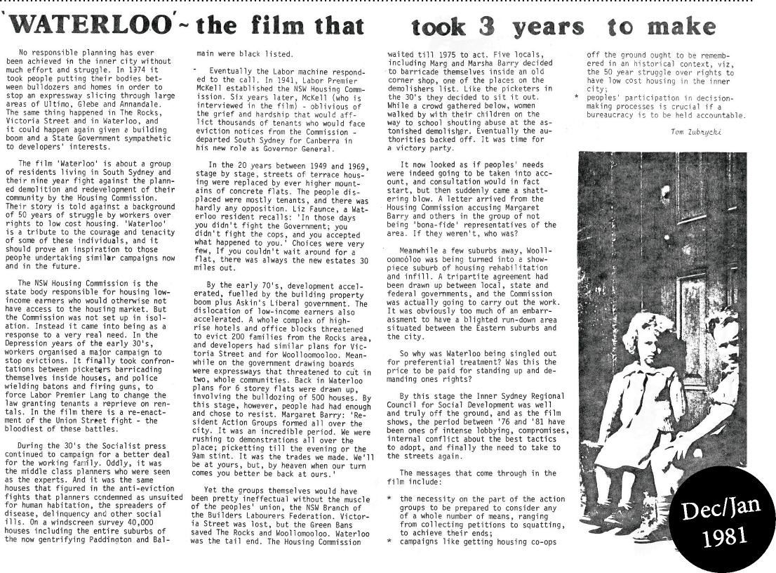 Inner Voice December / January 1981 article on Waterloo - the film that took 3 years to make