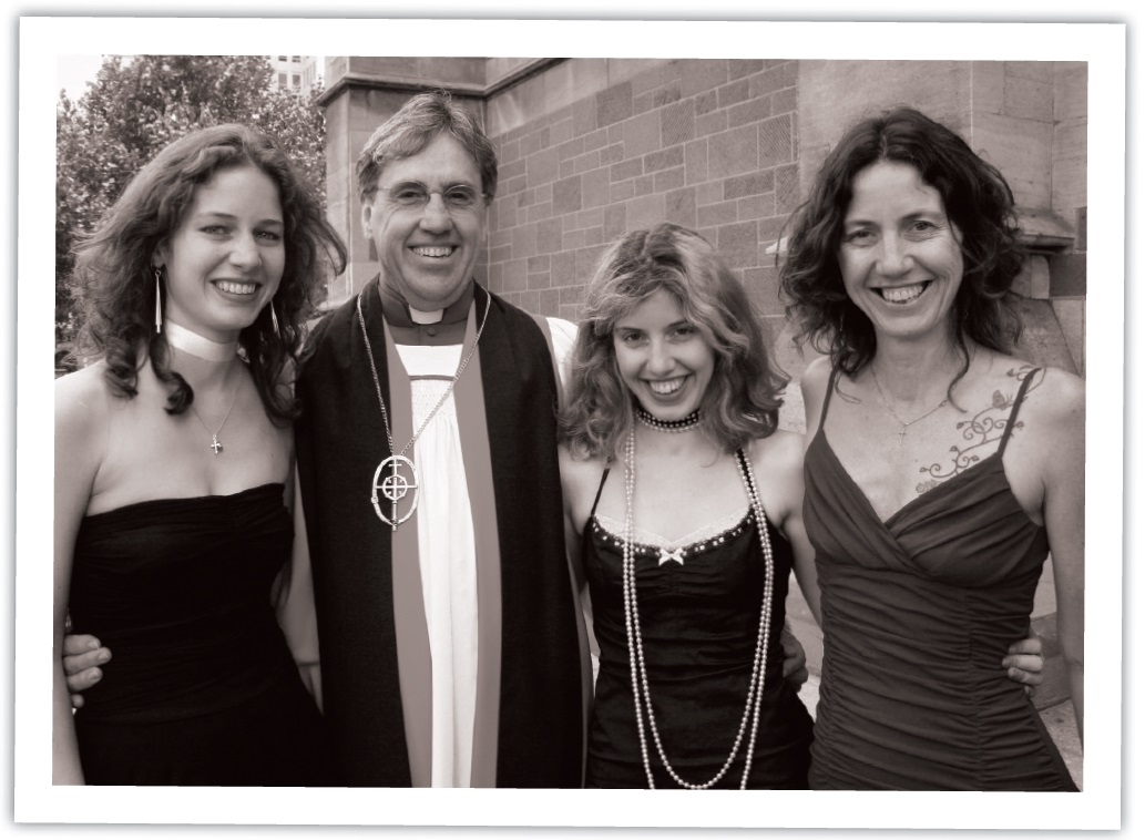 John, Jan and their daughters Jessica and Lisa at John's ordination as a bishop Photo: Jack Carnegie